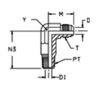 CCTX Ввертной угловой удлинённый фитинг