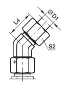 EV Угловой фитинг 45° со стяжной гайкой