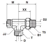 R5OMLO Проходной тройник ввертной регулируемый с наружной резьбой