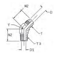 V3MX Ввертной угловой фитинг 45°