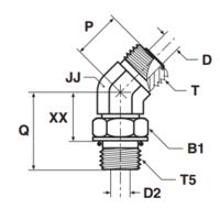 V5OMLO Фитинг ввертной угловой 45° регулируемый