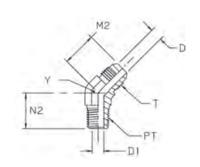 VMTX Ввертной угловой фитинг 45°