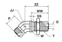 WNLO Фитинг угловой переборочный 45°