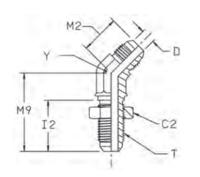WNTX 45° Переборочный фитинг угловой 45°